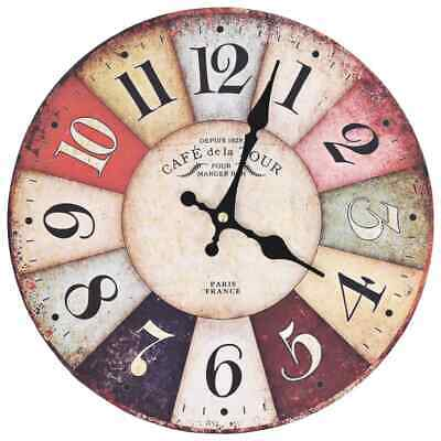 vidaXL Vintage Wall Clock Colourful 30cm Home Office Analog Timer Decoration