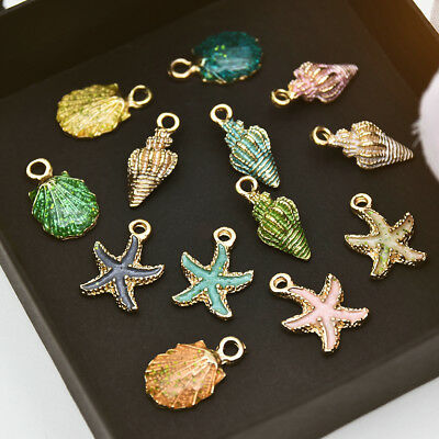 13PC/Set Xmas Ornaments Charms Metal Conch Sea Shell Pendants DIY Jewelry Making