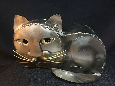 Metal Kitty Sculpture ~ Hecho en Mexico ~ Hand Crafted Art ~ Big Eyed Kitty