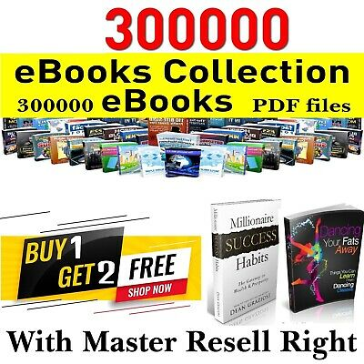 300000+ eBooks Package Collection PDF Ebook with master resell rights E-book
