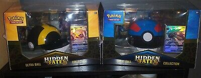 Pokemon Hidden Fates Great Ultra Poke Ball Collection Sealed Lot 2 Boxes Shiny