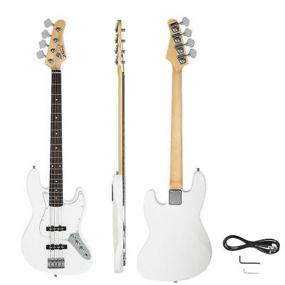 New White Glarry Electric Jazz 4 Strings Bass Guitar + Cord + Wrench