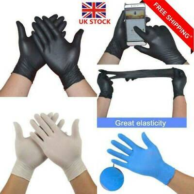 100 Pcs Rubber Disposable Powder Free Clear Mechanic Vinyl Gloves Nitrile New