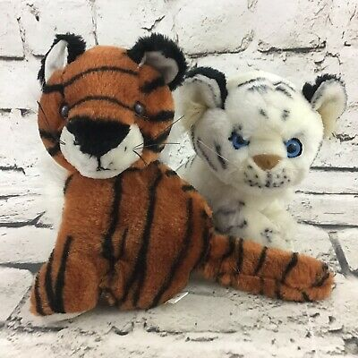 Tiger Plush White Siberian Bengal Striped Stuffed Animals Soft Toys Lot Of 2