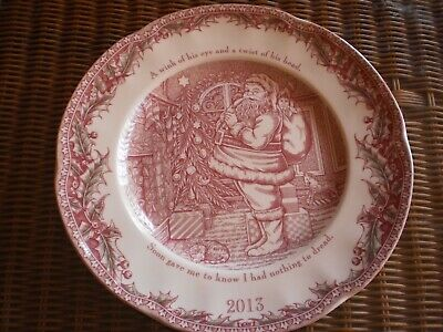 """Johnson Brothers England """"Twas The Night"""" 2013 Collectors  Christmas  Plate"""