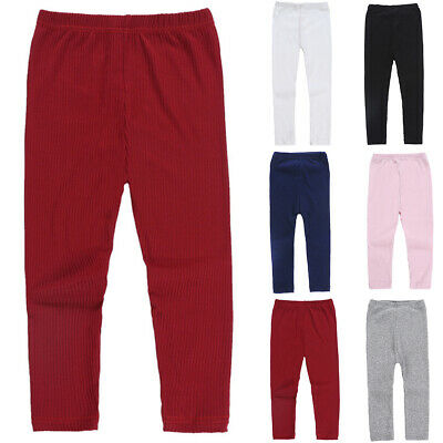 Kids Girls Warm Thick Fleece Leggings Stretch Cotton Solid Trouser Pants Charm