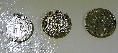 Lot 2 St Benedict Medal Charms Silver Tone & Gold Tone with Rhinstone Frame