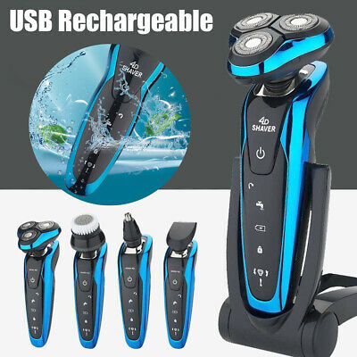 4in1 Waterproof Men Electric Hair Razor Trimmer Beard Rotary Shaver Rechargeable