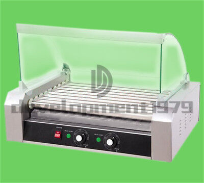 220V 1.8KW Commercial 9 Roller Hot Dog Grill Cooker Machine