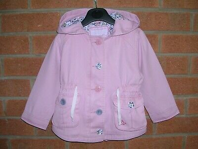 TU Girls Pink Hooded Floral Lined Jacket Hooded Coat Age 18-24m 92cm