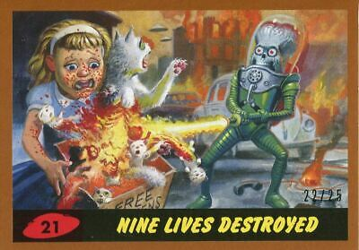 Mars Attacks The Revenge Bronze [25] Base Card #21 Nine Lives Destroyed