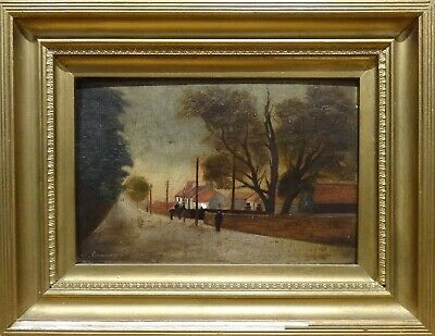 19th Century English School Village Street Scene Antique Oil Painting Landscape