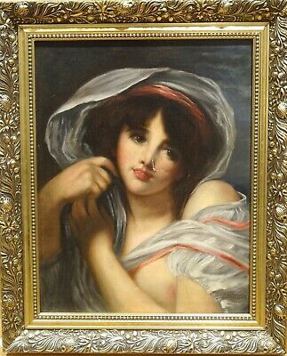 19th Century French  School Classical Portrait Of A Girl Antique Oil Painting