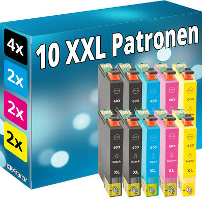 Set 10x Tinte Patronen für Epson 603 XL Seestern WorkForce WF 2830 2835 2850 DWF