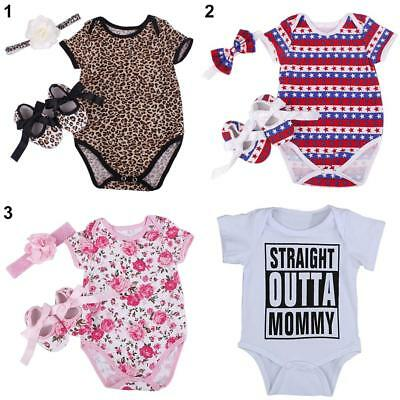 US_ 3Pcs Newborn Infant Baby Boy Girl Tops Romper Jumpsuit Bodysuit Clothes Reli