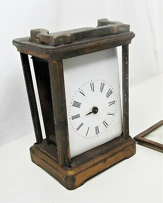 ANTIQUE BRASS CARRIAGE CLOCK by R & Co MADE IN PARIS - IN (DIRTY) PIECES