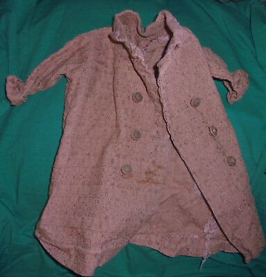 1940S 1950S VINTAGE  DOLL CLOTHES Large Brown Double Breasted Coat