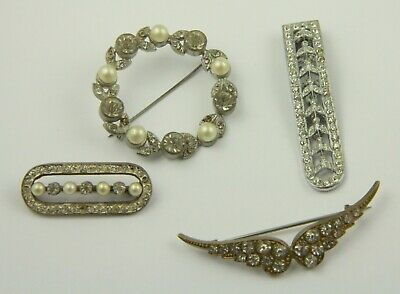 Antique Victorian c1890 gilt and white metal paste stone brooch pin lot repair