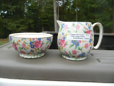 Vintage Royal Winton Grimwades Old Cottage Chintz Creamer And Sugar