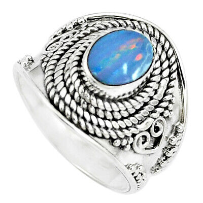 Natural Blue Doublet Opal Australian 925 Sterling Silver Ring Size 7 M84147