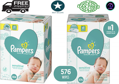 Pampers Baby Wipes Sensitive Water Based 3 Package Pack of 504 & 576   Count