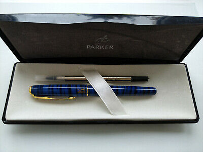 Rollerball Pen Parker Sonnet in Deep Blue Laque Striped Gold Plated Trim