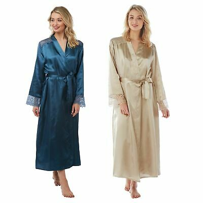 Womens/Ladies Long Satin Dressing Gown Wrap Robe Sea Blue/Oyster