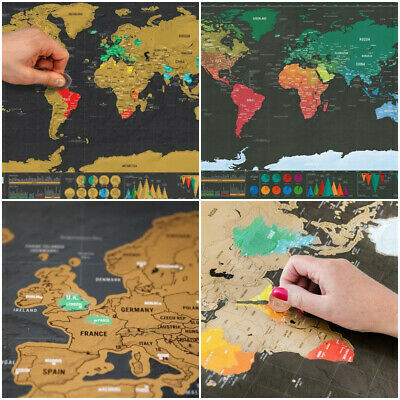 Scratch Off World Map Poster With States And Country Travel Deluxe Journal Gift