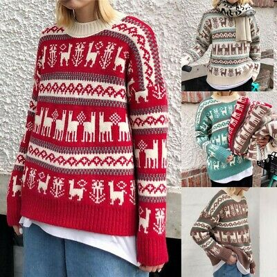 Women Christmas Snowman Fluffy Knit Sweater Jumper Top Ladies Casual Pullover
