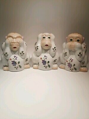 """Vintage Chinese Hand Painted Three Wise Monkeys, Appr. 7"""" Inc. Tall; 6"""" Inc...."""
