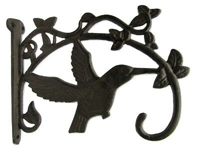 "Cast Iron Rustic Garden PLANT HANGER Hook Hummingbird 10"" x 9"" Antique Styl"