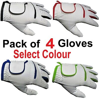 4 White MENS LADIES Golf Gloves Glove L/Rt Hand Black,Blue,Red,Green ALL WEATHER