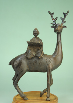 China old Collectible Decorated Handwork Bronze Sculpture Sika deer statue Ad01E