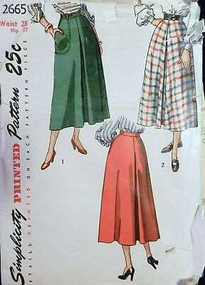 Vtg 1940s Simplicity 2665 Inverted Pleat Flared Skirt Sewing PATTERN 28 waist