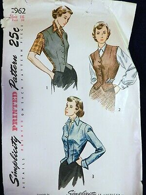 Vtg Class 1940s Simplicity 2962 Fitted Weskit Vest Jacket Sewing PATTERN 16
