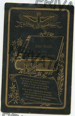 Cabinet Card - BENDER Family - Memorial / Remembrance Card - D) 1889, 15 yrs