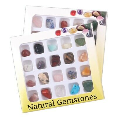 Rock Collection 20 Pcs Mixed Natural Mineral Ore Specimens Gemstones With Box