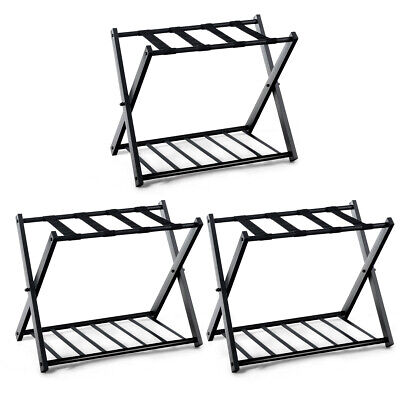 3 PCs Folding Metal Luggage Rack Suitcase Shoe Holder Hotel Guestroom w/Shelf