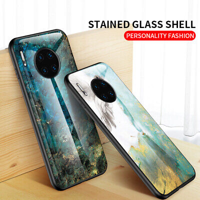 Luxury Marble Pattern Tempered Glass Back Hard Case Cover For Huawei Mate 30 Pro