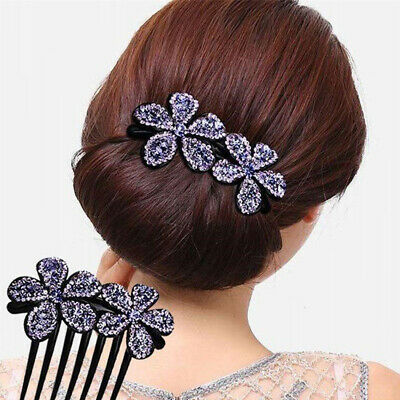 Ladies Crystal Flower Hair Combs Clips Pins Clamp Hair Slide Accessories Party