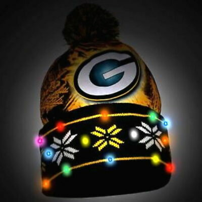 Green Day Packers NFL Authentic LED Big Logo Light Up Winter Printed Pom Beanie