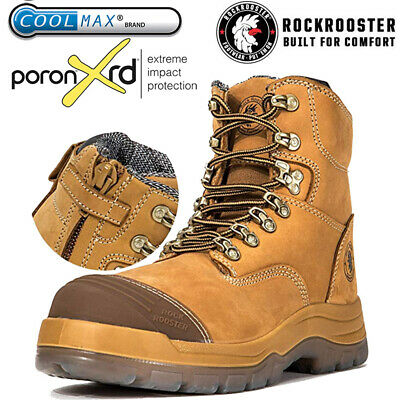 ROCKROOSTER Work Boots For Men Steel Toe Leather Safety Zip Lace Up Shoes