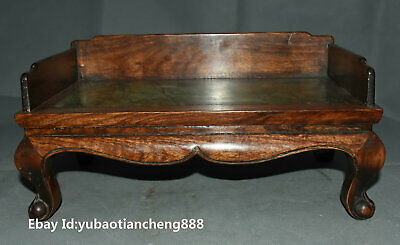 Rare Old Chinese Huanghuali wood inlay marble Classical Furniture Tea Table Desk