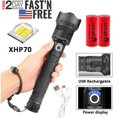 XHP70 900000Lumens Zoomable LED USB Rechargeable Flashlight Torch 26650 Light US