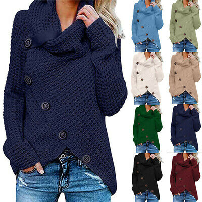 Womens Asymetrical Button Blouse Ladies Long Sleeve T-shirt Casual Jumper Tops