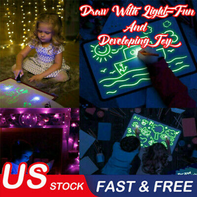 Draw With Light Fun And Developing Toy UV Luminous Pen Drawing Board Gift Kids~