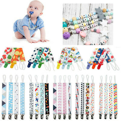 4X Dummy Clips Baby Boys Girls Soother Chain Holder Strap Pacifier Baby Care UK
