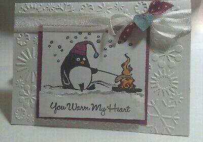 Stampin Up razzleberry penguin card kit winter snow north pole