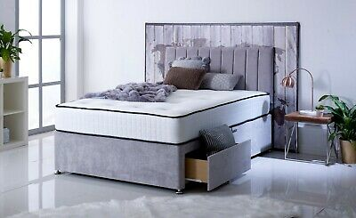 New Bravo Divan Bed Set with Memory Mattress + Free Headboard Double, King Size