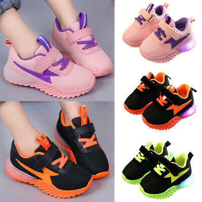 Kids Child Girls Boys Mesh Sports Trainers Sneakers Casual LED Luminous Shoes AU